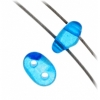 Twin 2-hole Bead 2.5x5mm Transparent Blue Dyed